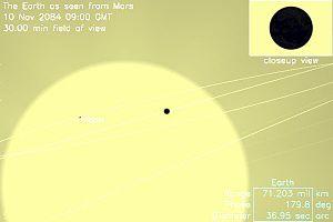 火星から見た、2084年の地球と月の日面通過 ウィキペディアより EarthTransit2084